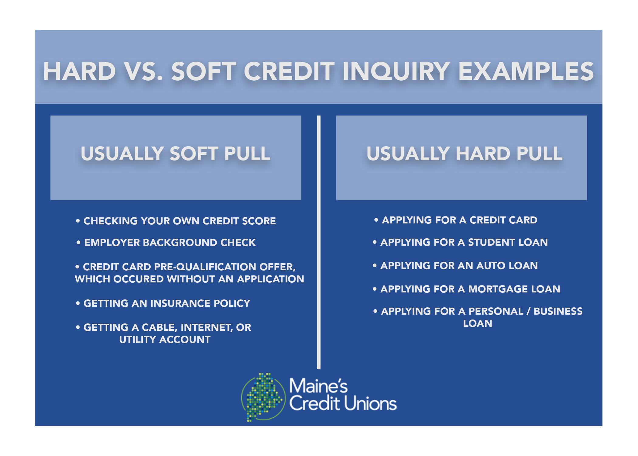 affect  hard  soft inquiries   credit maine credit unions